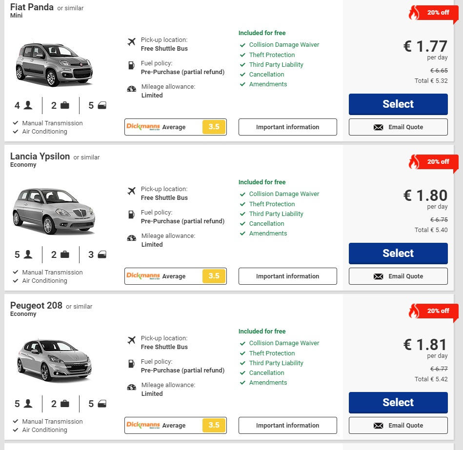 Цены на аренду авто в Европе