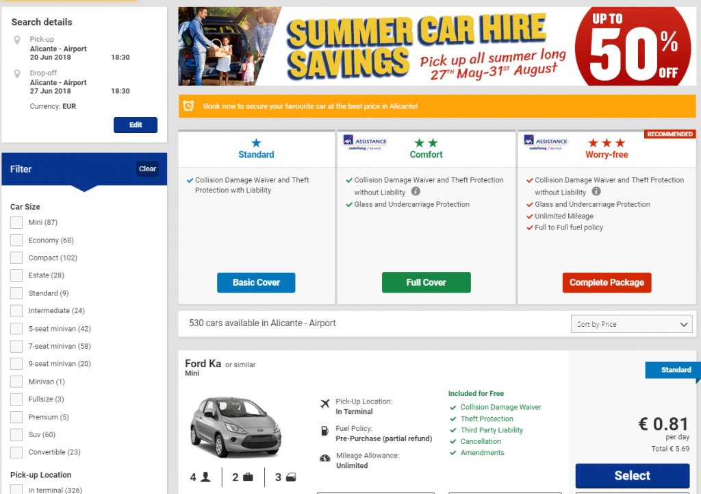Аренда авто в Европе car-hire.ryanair