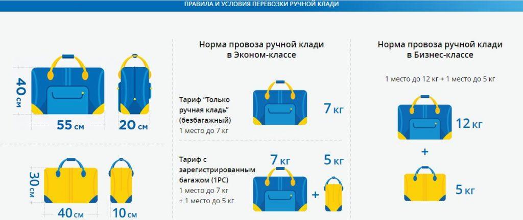 Правила перевозки ручной клади МАУ