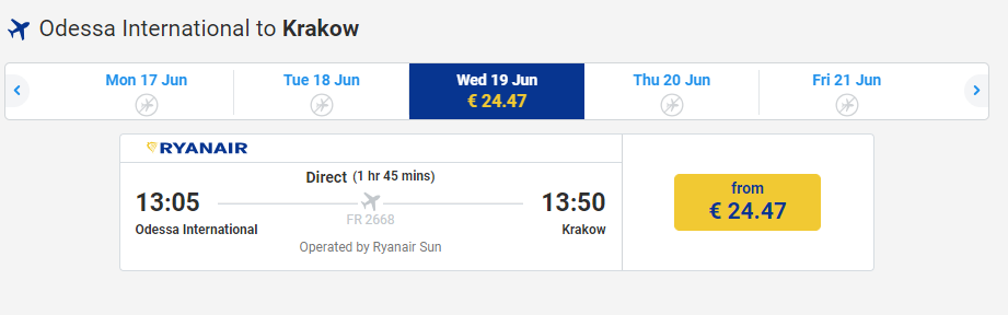Odessa International to Krakow